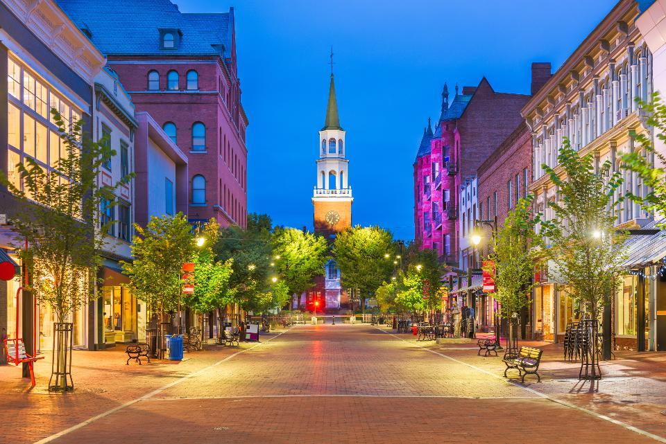 Burlington, Vermont, USA at Church Street Marketplace.
