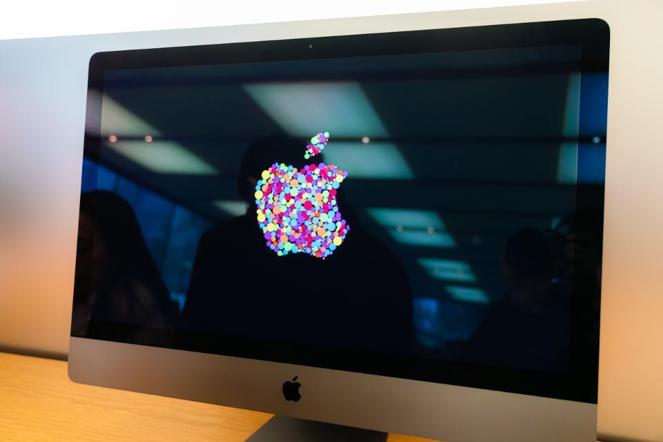 American multinational technology company Apple logo seen on...