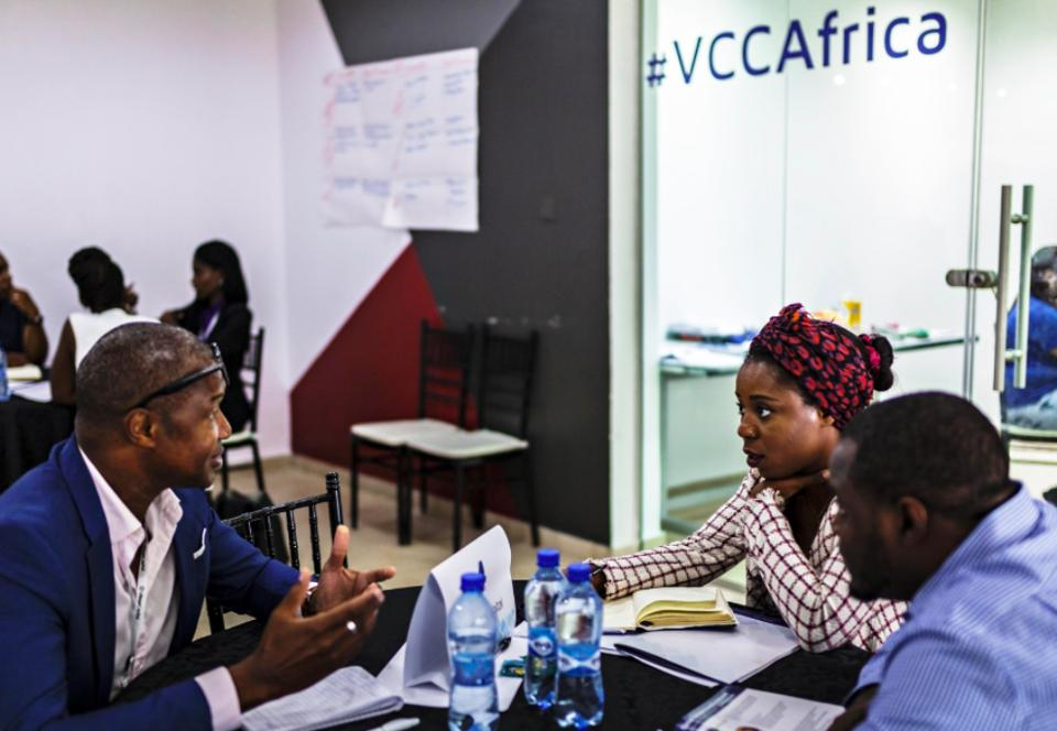 Three entrepreneurs in a Village Capital accelerator program in Africa