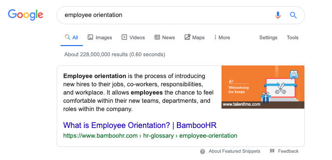 """Featured snippet won for """"employee orientation"""""""