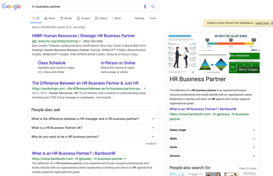 """Featured snippet won for """"hr business partner"""""""