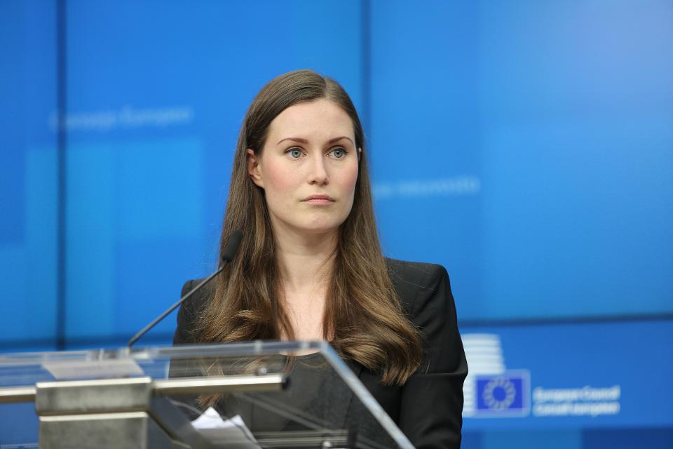 Sanna Marin PM Of Finland At European Council